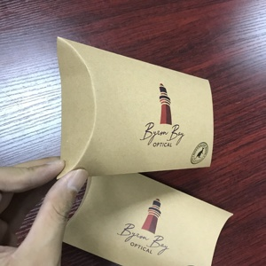 ECO friendly custom printing foldable packaging recycled brown kraft paper pillow box