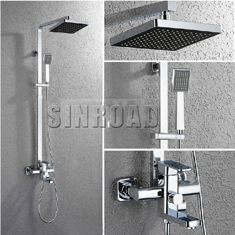 8 x 8 inch square shower head set with hand held square - Bathroom items that start with l ...