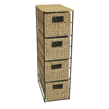 Woodluv 4 Drawer Seagrass Tower Storage Unit With Chrome Wire Frame  sc 1 st  Alibaba & Woodluv 4 Drawer Seagrass Tower Storage Unit With Chrome Wire Frame ...