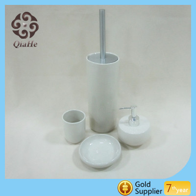 Home and hotel fashional ceramic bathroom accessories set with soap dispenser toilet brush holder