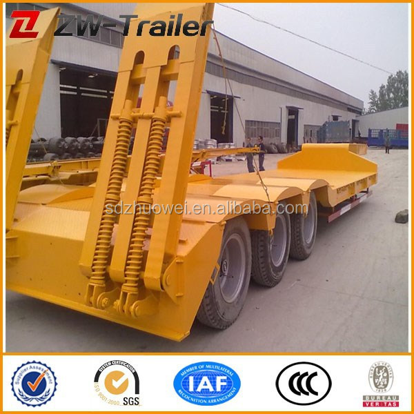 yang jia factory low price 9m length working platform 3 axle lowbed truck trailer for sale