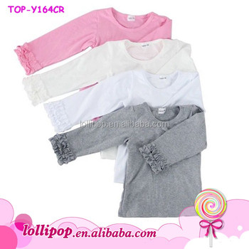 96e65d3f New Design Girls Boutique Blank Icing Ruffled Shirts Toddler Long Sleeve  Plain Shirts Baby Icing Ruffle