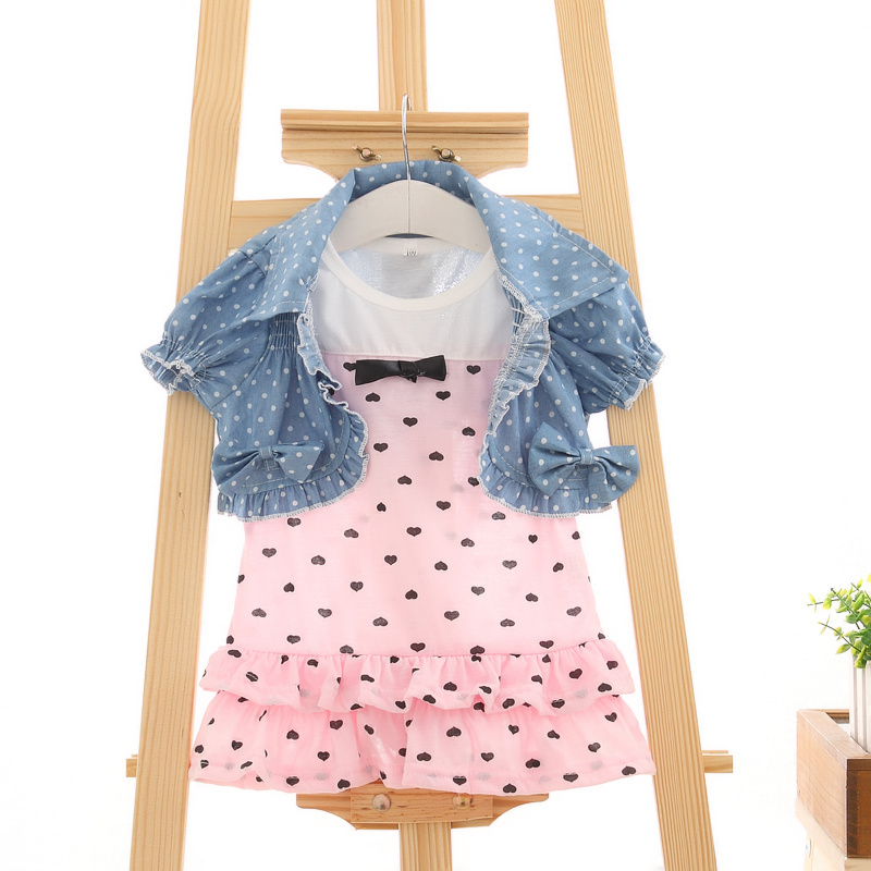 2014 New Arriving Baby Girls Summer Clothing Sets : Cake Dress+Denim Vest 2 Pcs/Set For 4-24M Kids Wear Clothes Free Shipping