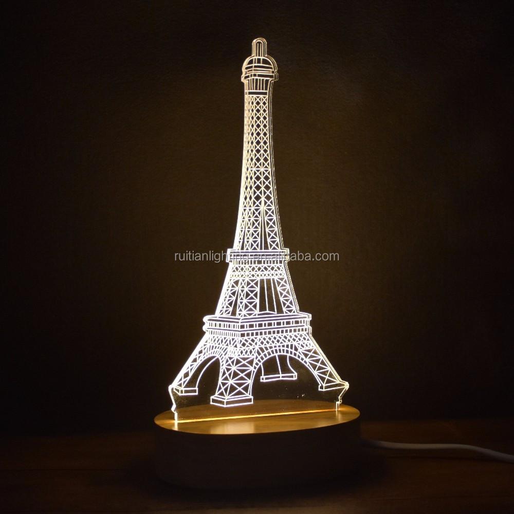 Eiffel Tower Night Light Acrylic Table Lamp 3d Led Lamp 2w   Buy Eiffel  Tower Lamp,3d Led Cube Light,Led Lamp 5v Product On Alibaba.com
