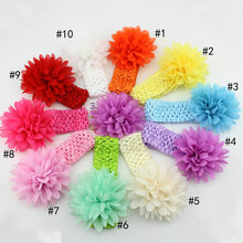 5pcsRetail Package Ebay Sell Solid Chiffon Flower Baby Head band Infant Kids Hairband Accessories Girl font