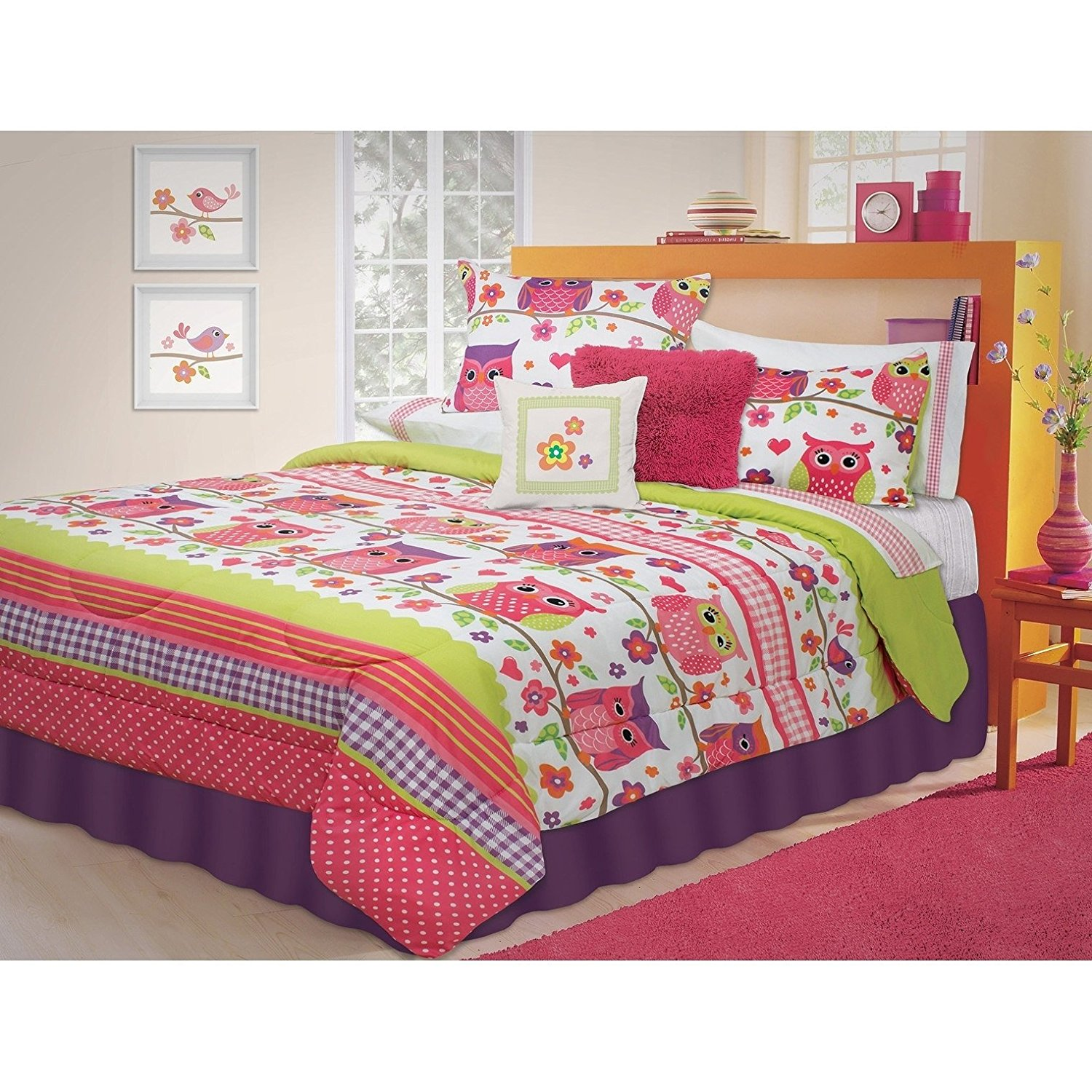 Cheap white flower bedding find white flower bedding deals on line get quotations did 2 piece girls white pink lime green purple owl themed comforter twin set vibrant mightylinksfo