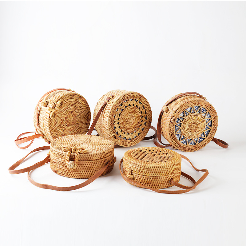 Handwoven hollow out round rattan bag plain weave summer long leather handle straw shoulder bag