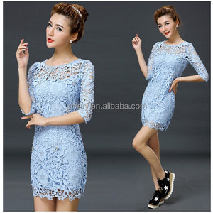 Modern street style elegant summer lace dress short mini dress sexy see-through tight dress A784