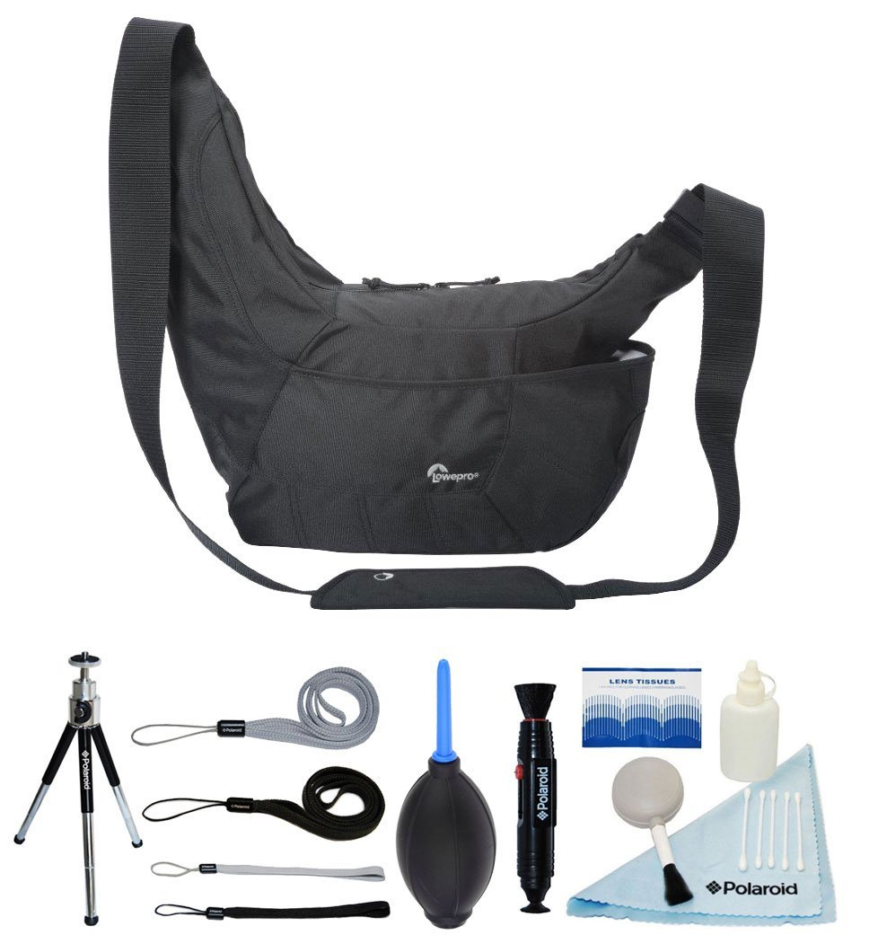 Lowepro Passport Sling III Shoulder Bag / Day-Pack for Camera and For Ordinary Outdoors - (Black) + FREE Polaroid Accessory Bundle