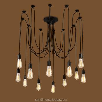 Bulbs E27 Spider Lamp Black Hanging Lights Pendant Bulb Holder ...