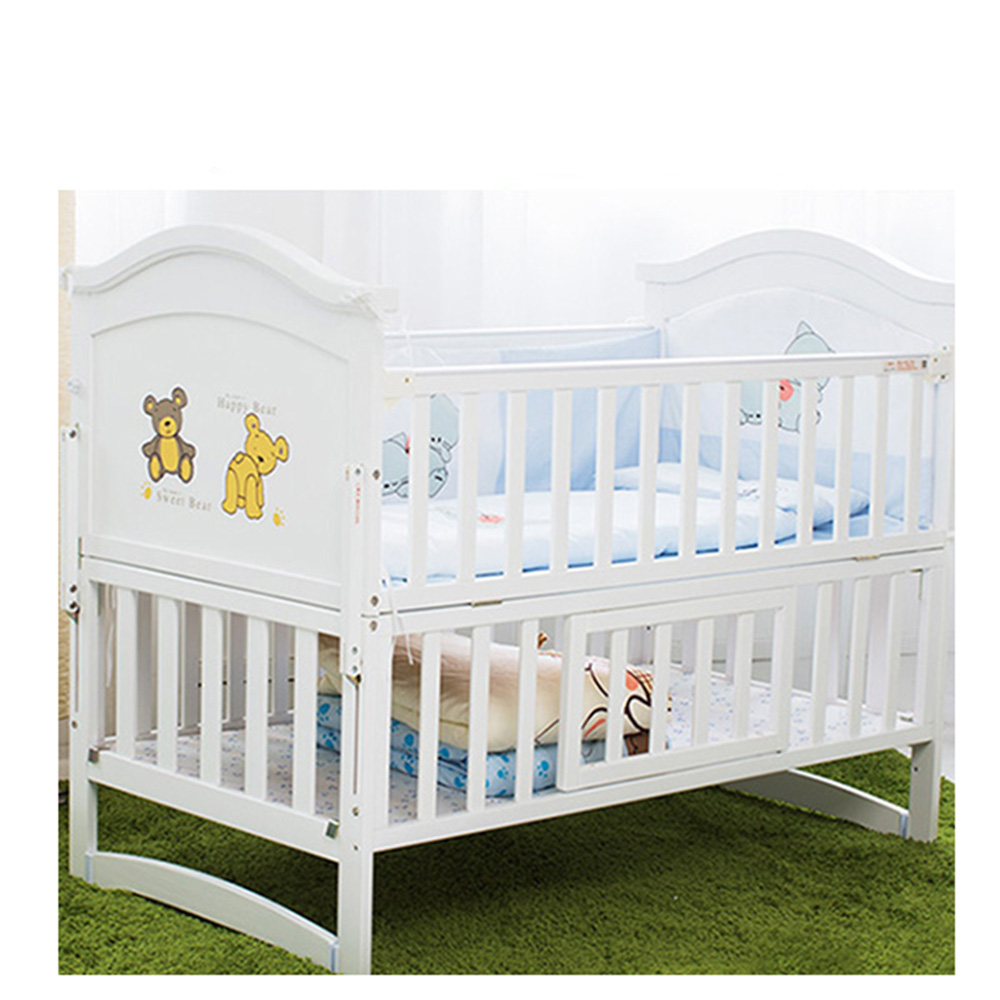Natural Wood Baby Crib Kids Bed Multi-function Solid Wood Infant