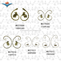 wrought iron flower decoration for iron fence/ iron fence decoration