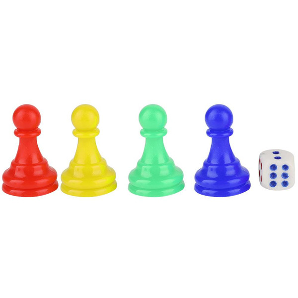 2019 Cheap Hot Selling Funny Travel Plastic Colorful Pieces Pawn Chess Pieces Dice Set for Board Card Games Accessories
