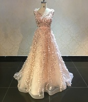 Woman Ball Gown Embroidery Lace Sweep Train Wedding Evening Dress