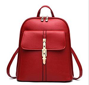 DIS Fashion Backpack Schoolgag for Teen Girls Faux Leather Backpack Student Women's leisure Daypack (Red)