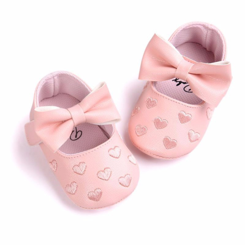 Big Bow Embroidery Love Soft Bottom Kids Shoes Non-slip Baby Shoes Prewalker Boots Newborn Babies Shoes Soft Bottom PU Leather