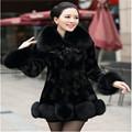 Autumn Winter Black Big Fur Collar Long Fur Coat Plus Size Women New Mink Fur Jacket