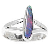 Silver Ring With Pink Opal