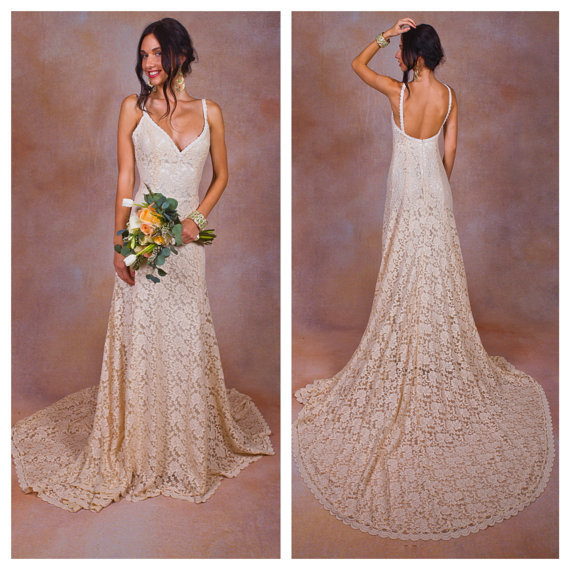 Simple Elegant Modest Lace Wedding Dress With Scallop Lace: Lace Backless Wedding Dress. Plunge Scallop Front. LOW