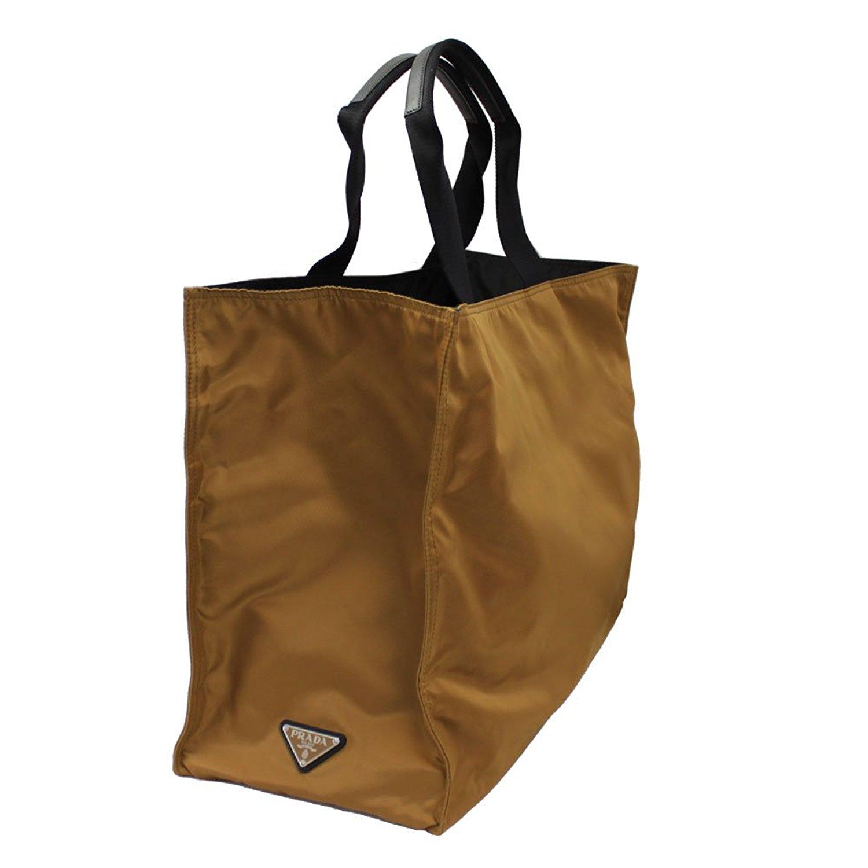 0e7801dff7ab6b Get Quotations · Prada Men's Camel/Black Nylon Reversible Large Tote Bag  VA1001 Tabacco/Nero
