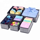 Grey stylish Set of 6 easy Storage Closet Drawer Divider tidy Grey Underwear lingerie Organizer for household