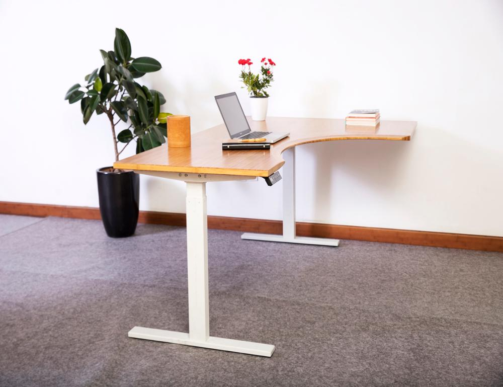 Commercial Office Furniture Bamboo Office Desk Electric Legged Desk Sit Stand Height Adjustable Desk