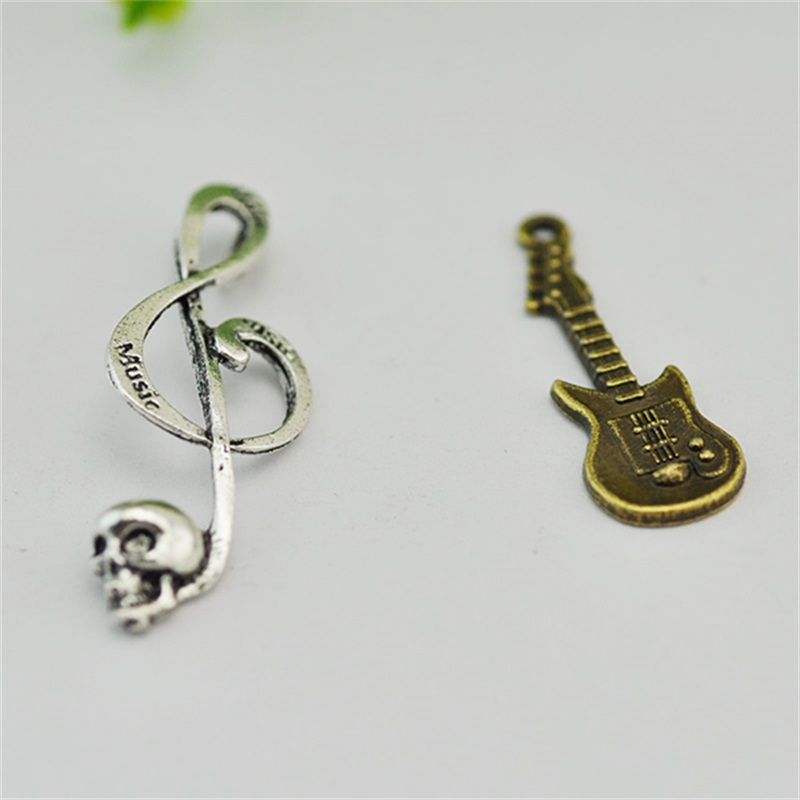Antique Silver Skull Music Note Charms Skeleton Charm Steampunk Halloween Craft Supplies Skull Charm Epic Findings