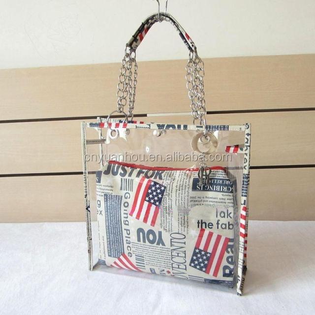 fashion women chain handle transparent pvc beach bags with zipper bag  inside clear plastic beach tote handbag 175408b79eec