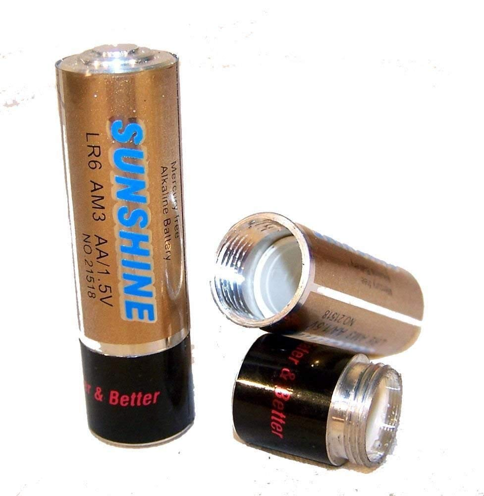 2 AA Battery Shaped Stash Pill Box Batteries