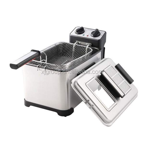XJ-11301BO Electric Mechanical Deep Fryer with detachable oil tank and glass window & filter on lid Chinese supplier new