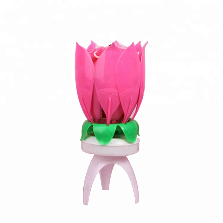 2018 Trending Products Rotate Flower Birthday Candle With Auto Music