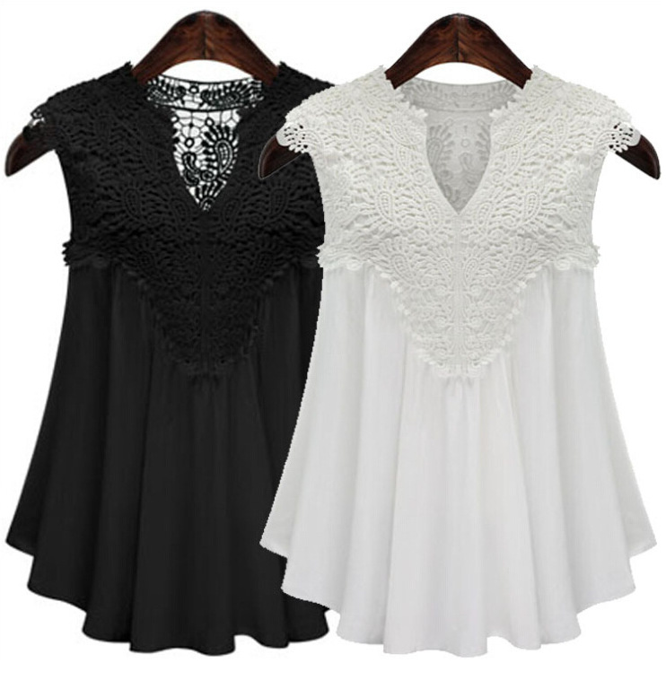 Fashion 2019 <strong>Plus</strong> <strong>Size</strong> <strong>Lace</strong> V Neck <strong>Blouse</strong> Women Black Chiffon Sleeveless <strong>Blouse</strong>
