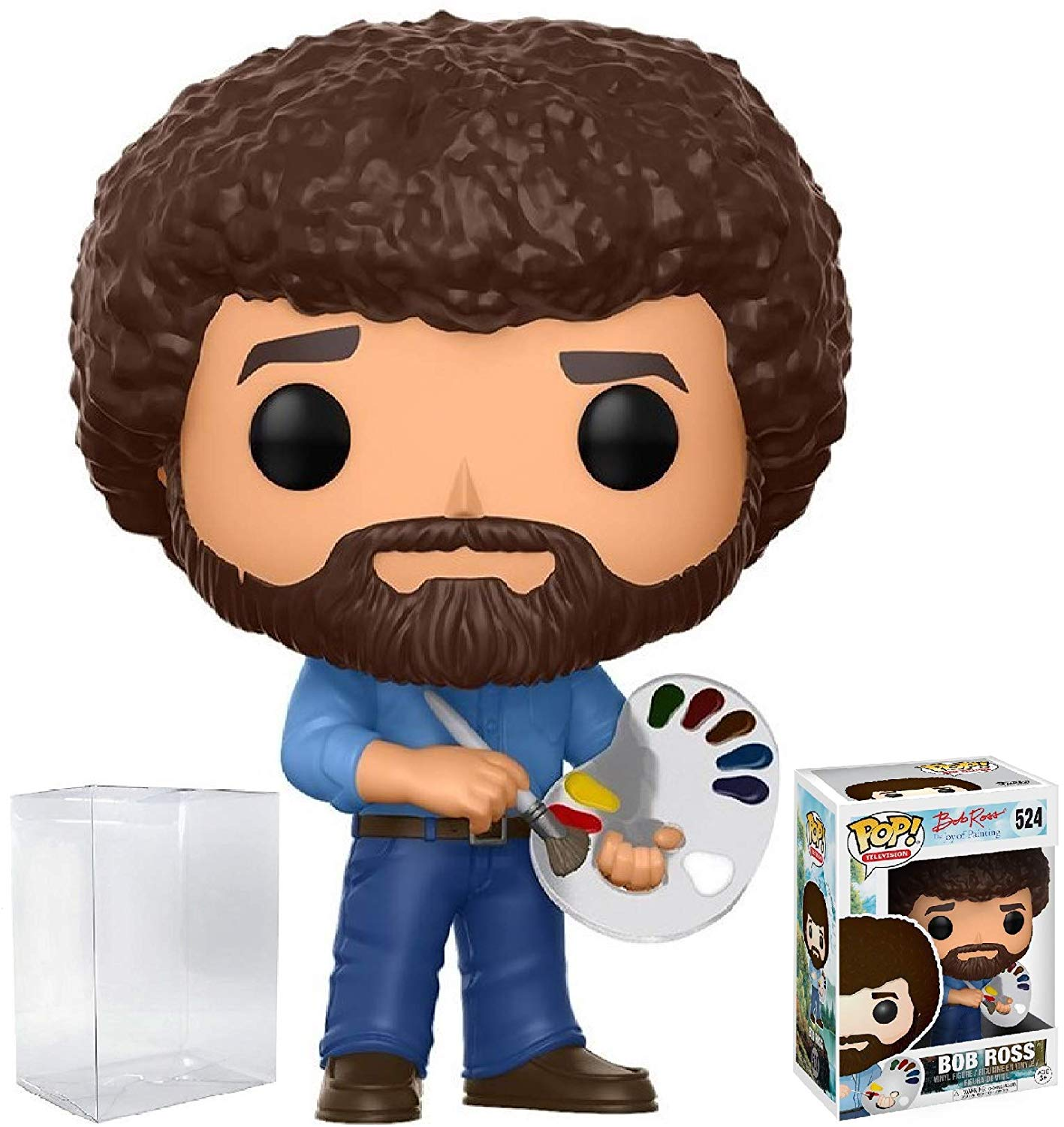 BobRoss Funko Pop! Television: The Joy of Painting #524 Vinyl Figure (Bundled with Pop Box Protector Case)