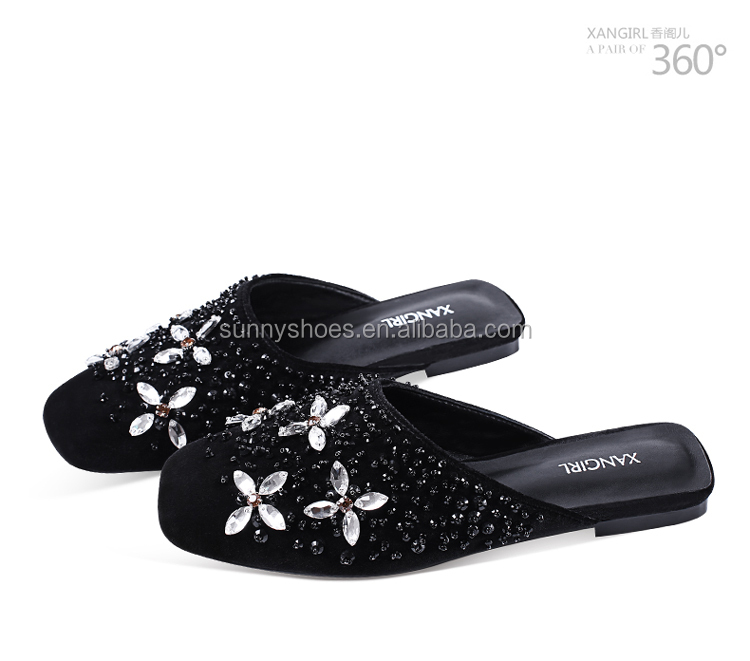 mule fashion toe handmade sandals women rhinestones closed velvet xSXqwB
