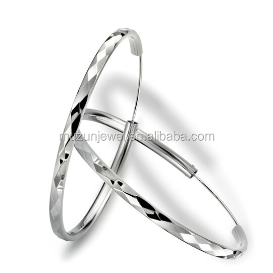 Fine Jewelry 100% 925 Pure Silver Sterling Silver Diamond Hoop <strong>Earrings</strong>