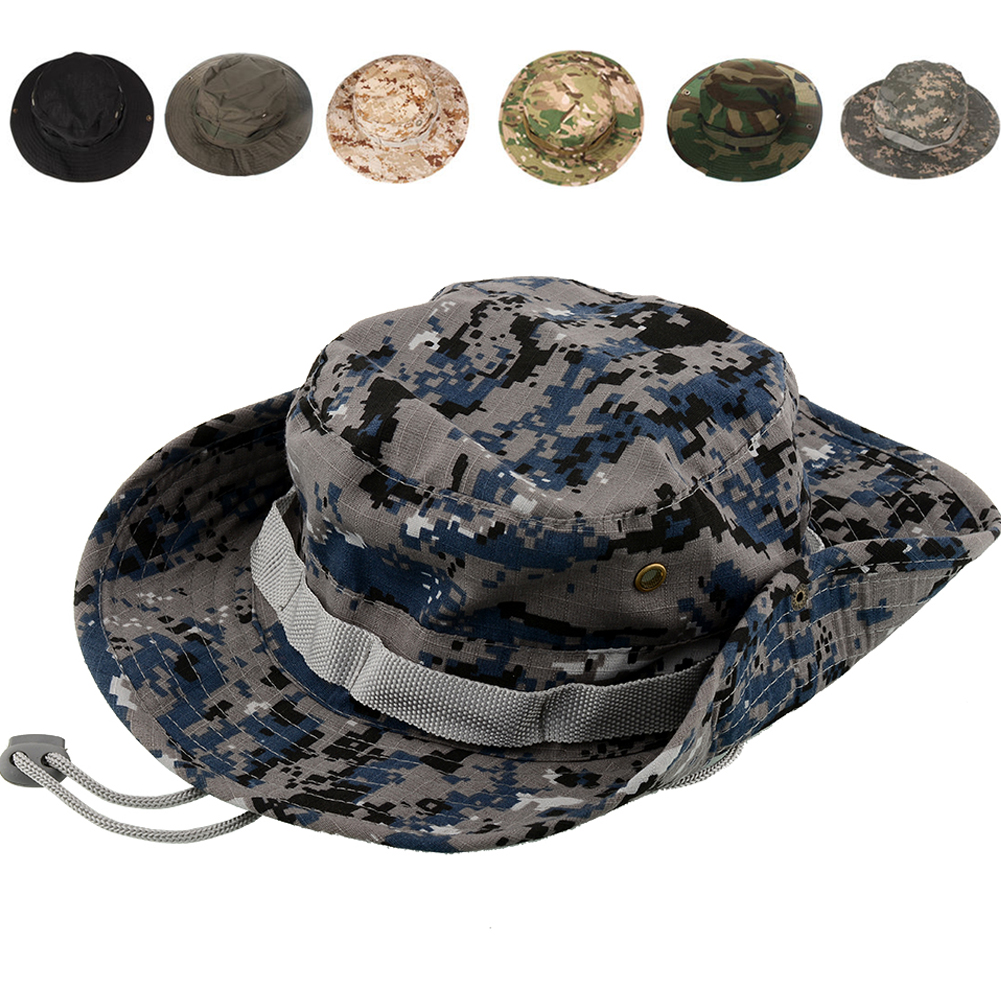 2b720e2350e Get Quotations · Cotton Mult-Color Military Camouflage Bucket Hats Camo  Fisherman Hats With Wide Brim Sun Fishing