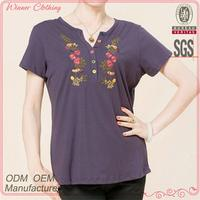 Cotton lycra with embroidery short sleeve middle aged women blouse designs
