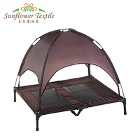 Outdoor Dog Bed Elevated Pet Cot with Canopy Portable for Camping or Beach