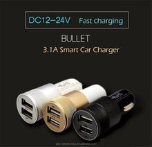 Best quality Dual USB Ports Universal 2.1 Amp car charger with led