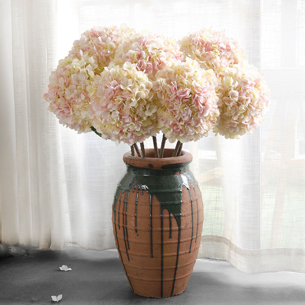 Long Stem Light Color Hydrangea Silk Flowers Artificial Hydrangea
