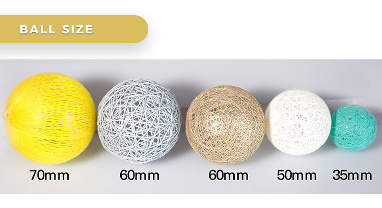 Festival decorative battery powered cotton ball led light string