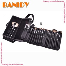 Wholesale Makeup Brush Set Cylinder Package Black Cosmetic Brush With Shinny Neck