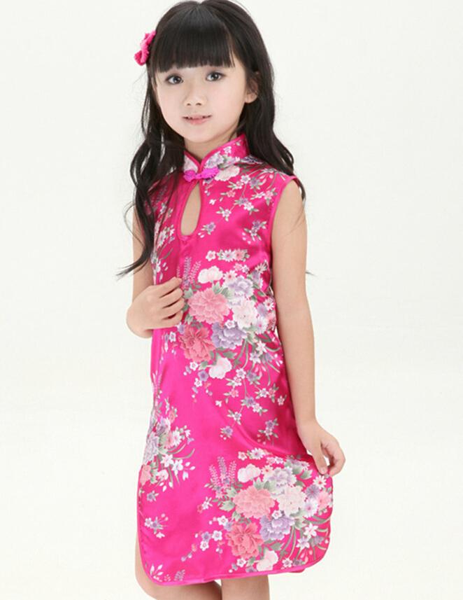 e9c836be2b33 Buy Hot Pink Flower Child Dress Chinese Baby Girl Satin Cheongsam ...