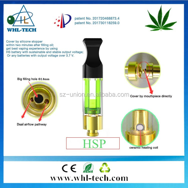 Original factory direct sell patent owner 510 cbd oil atomizer 0.5ml 0.8ml 1.0ml cbd tank with dual airflow hole