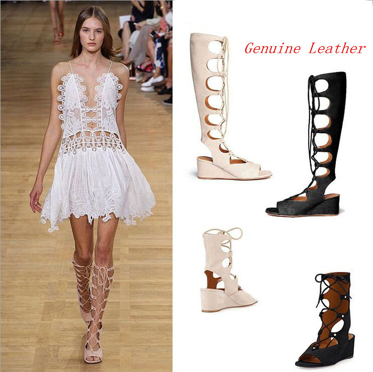 2015 New Designer Gladiator Sandals Women Knee High Lace Up Sexy Summer Boots Sandals Black/Beige/Nude/Black Sandalias