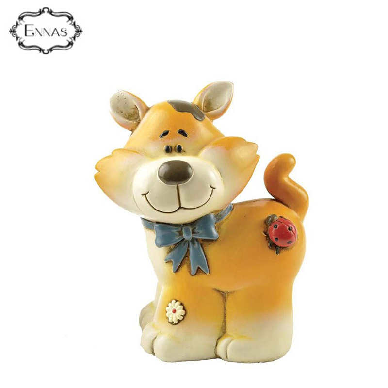 Factory Wholesale Polyresin gifts of cute fox money bank for kids