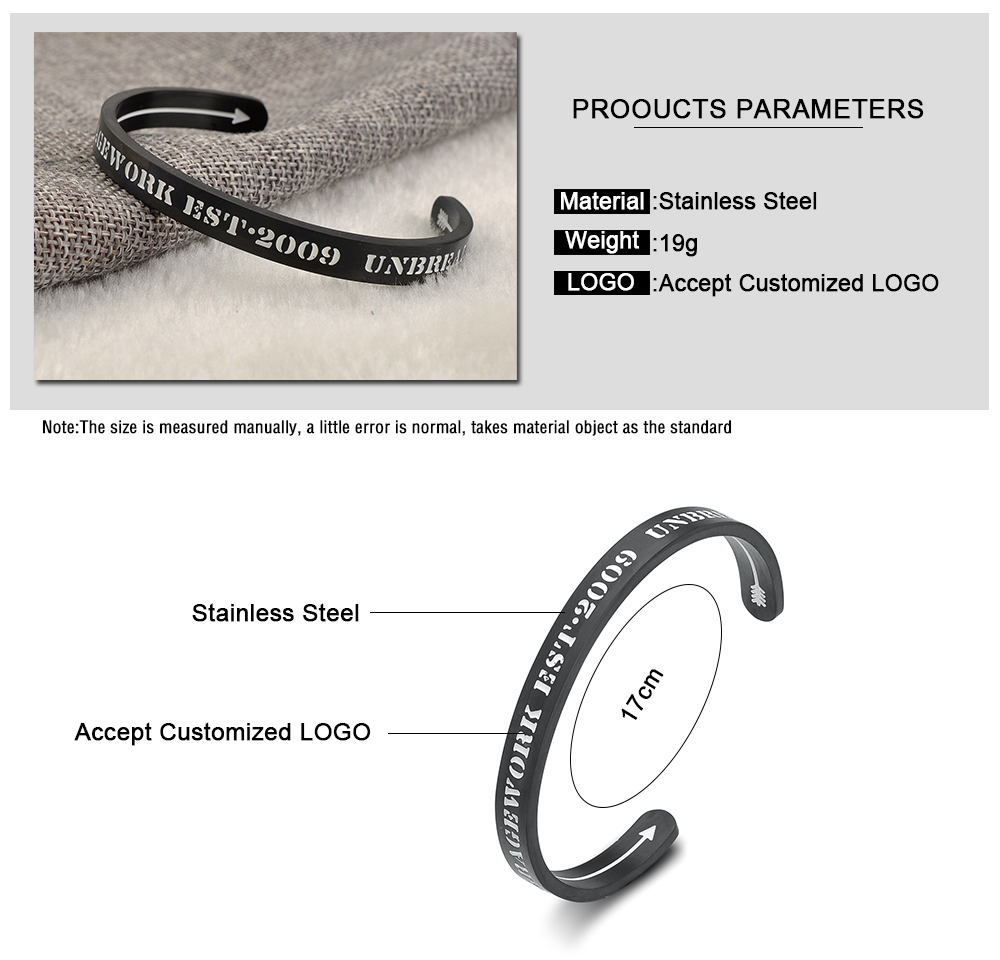Simple Jewelry Custom Laser Engrave Black Bangle Womens Stainless Steel Bracelet