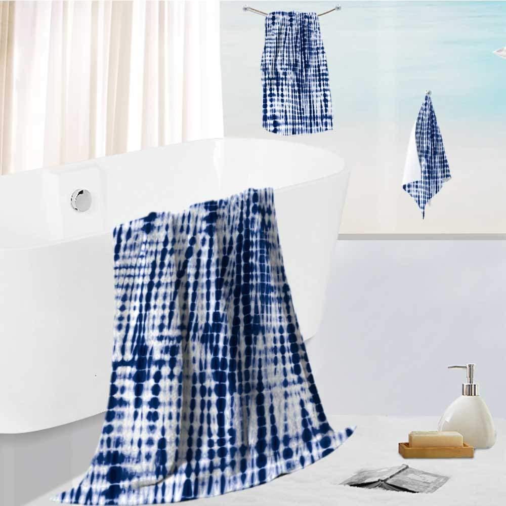 Analisahome 3 Piece Bath Body Plush Shower Towel Wrap Spa Set indigo blue tie dye textile pattern editable vector seamless pattern repeat Bath Body Sponge