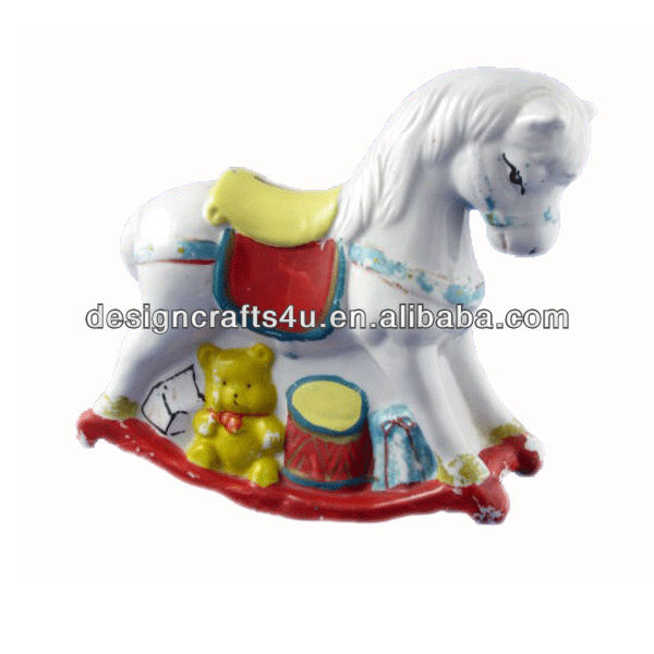 vintage pottery rocking horse money box