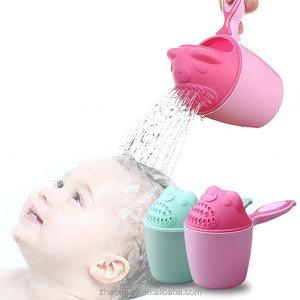 3 Colors Baby Kids Cartoon Bear Bathing Cup Baby Shower Shampoo Cup Bailer Baby Shower Water Spoon Bath Wash Cup